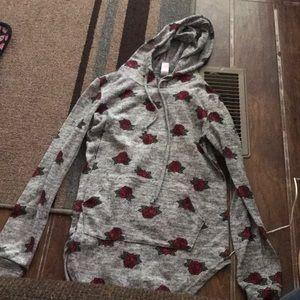 Long sleeve rose hooded top
